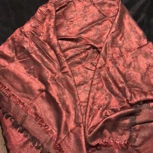 Authentic coach reversible shawl red metallic